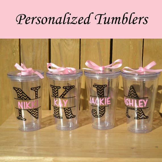 Set of 5 Personalized Bridesmaid Tumblers Glass Set by PersonalizedGiftsbyJ, $42.50