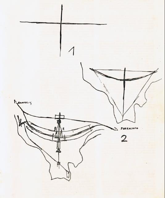 Lucio Costa's sketch for the Brasilia basic urban plan competition.