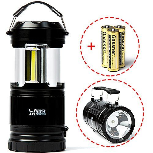 Winner Outfitters 1 Pack Portable Outdoor LED Camping Lantern with Flashlight (included 3 AA Batteries)