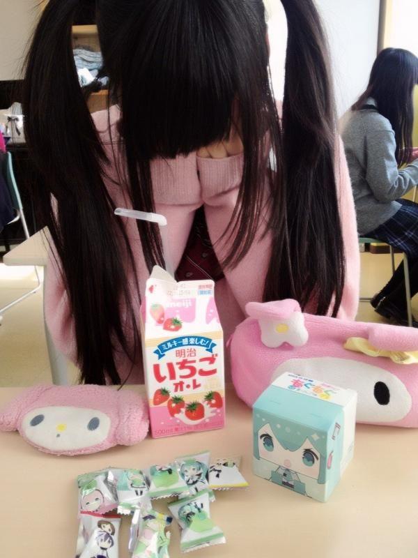 ♡• CʋTε F00D~~ •♡ candy - Hatsune Miku - vocaloid - strawberry milk - pink - pastel -  japanese sweets - kawaii