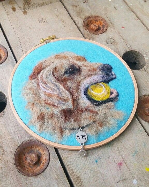 Needlefelting dog. Golden , dog , animals , köpek Instagram : handesanat