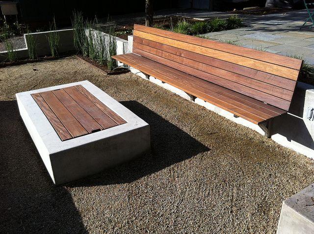 Ipe Bench, Firepit Tabletop, Decomposed Granite Base, via Flickr