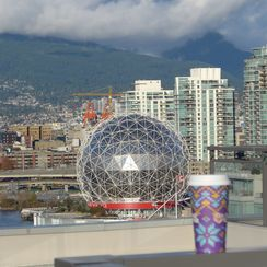 Science World from Southeast False Creek (aka the Olympic Village) in Vancouver, B.C Canada