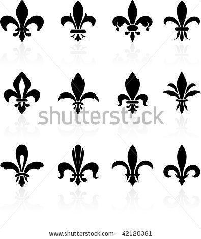 Fleur De Lis Black And White Design Collection Stock Vector ...