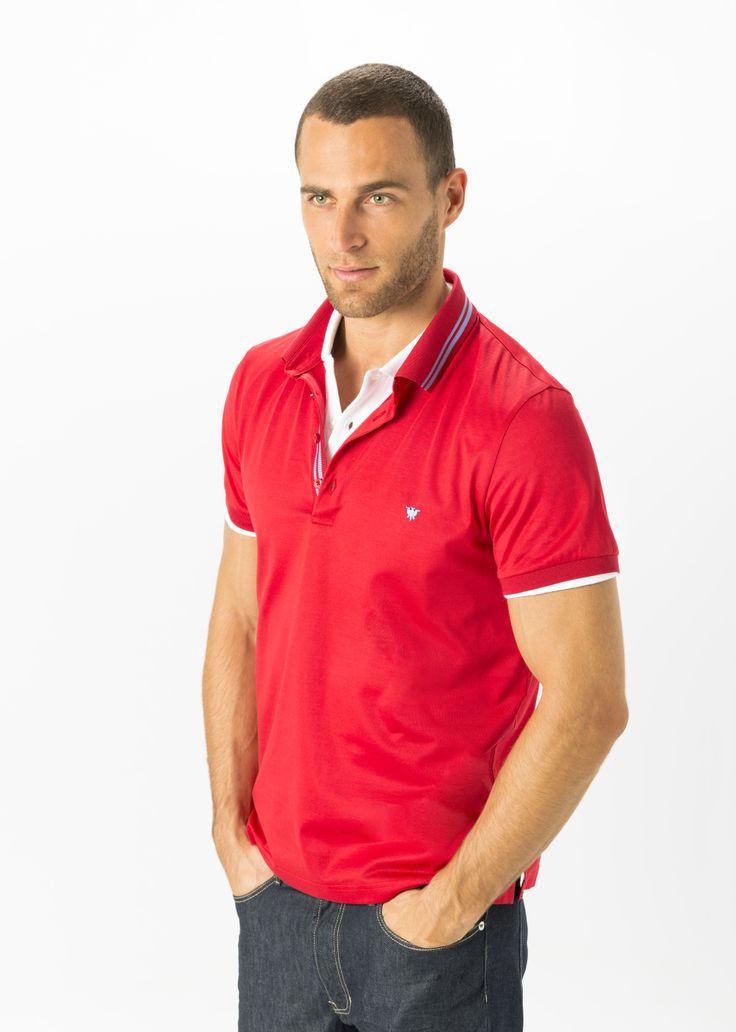 Empieza el día con este #look: Polo 100% algodón en rojo y un cómodo vaquero de nuestra #Colección PV14 #moda