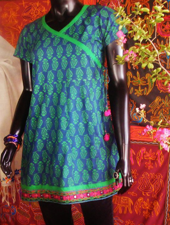 Block printed vegetable dyed ethnic top with kutch(gujarat india) embroidery.