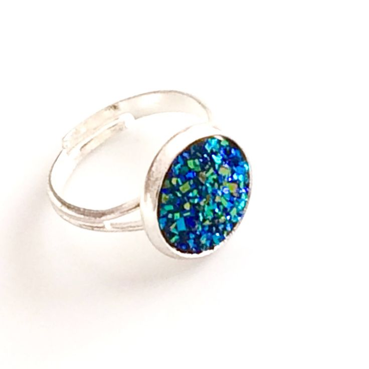 Blue Green Rose Gold Druzy ring - Silver plated adjustable ring - Blue ring - flat 12 mm - Faux Druzy ring - bridesmaid gift Canada by AnisasClayCreations on Etsy https://www.etsy.com/ca/listing/530694822/blue-green-rose-gold-druzy-ring-silver