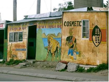 Shops in a typical township in Cape Town, South Africa