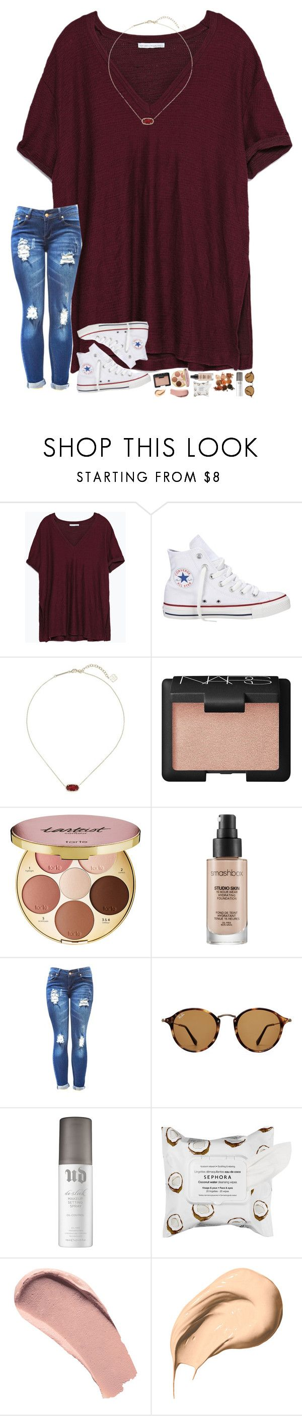 first day of state competition today! by hopemarlee ❤ liked on Polyvore featuring Zara, Converse, Kendra Scott, NARS Cosmetics, tarte, Smashbox, Ray-Ban, Urban Decay, Sephora Collection and Burberry