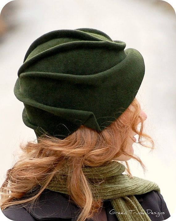 Sculpted Green Fur Felt Cloche Hat by GreenTrunkDesigns -- Cloches are definitely my favorite style of head wear. <3