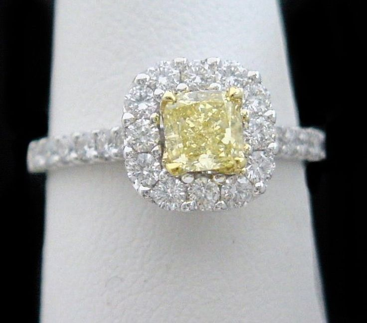 Canary Yellow Diamond Halo Engagement Ring 1 50CT Cushion Cut in 18K White Go