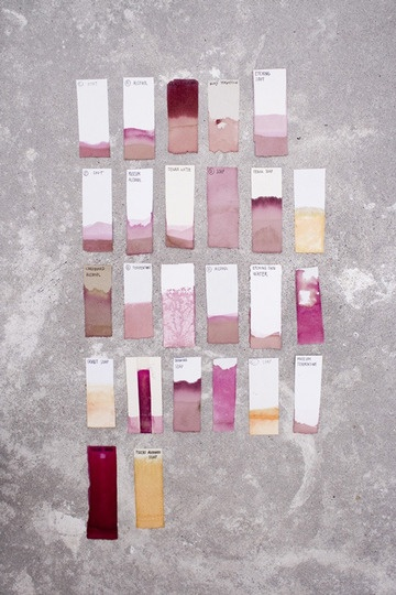 Natural dye chips - i could show samples of dying different papers by dipping into inks