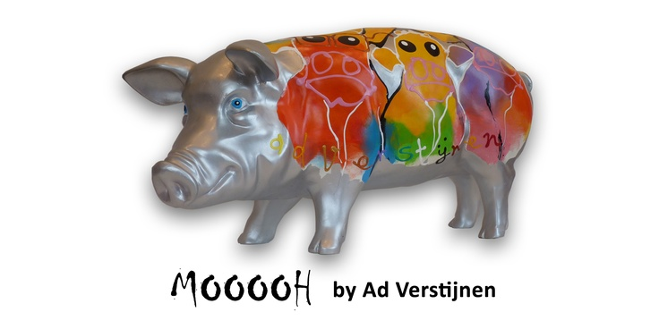 Artpig MOOH.  Ad kent landelijke beroemdheid en de beschilderde varkens doen dan ook niet onder voor de Ad verstijnen zeefdrukken. De varkens worden gekarateriseerd door een krachtig handschrift en een sterk sprekend kleur gebruik. Er onstaan op  deze manier stabiele composities, niet van humor gespeend. Deze variant is voorzien van kleurrijke koeien.
