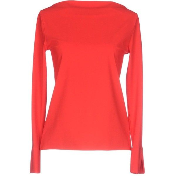 Christies À Porter T-shirt (£54) ❤ liked on Polyvore featuring tops, t-shirts, red, red long sleeve tee, red long sleeve top, long sleeve tops, long sleeve jersey t shirt and red top