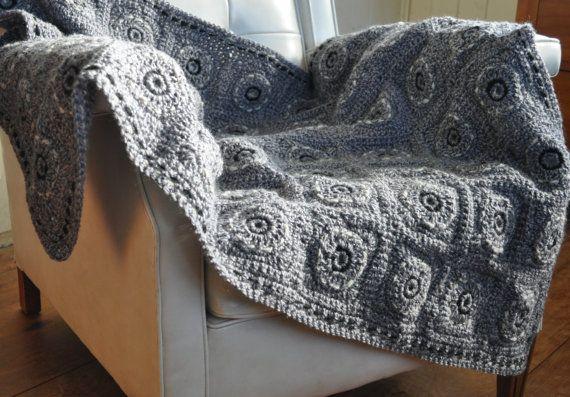 Modern afghan knee rug in thick grey wool
