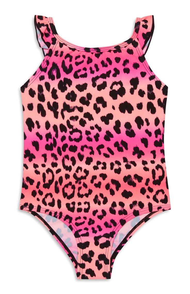 Meisjesbadpak met luipaardprint