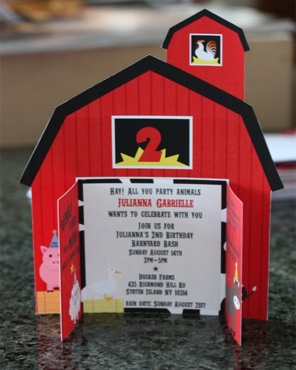 Barnyard/ Farm Animal Invitation by Wants and Wishes