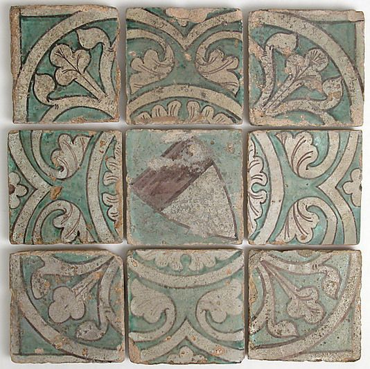 Nine tiles - tin glazed earthenware, France, circa 14th century