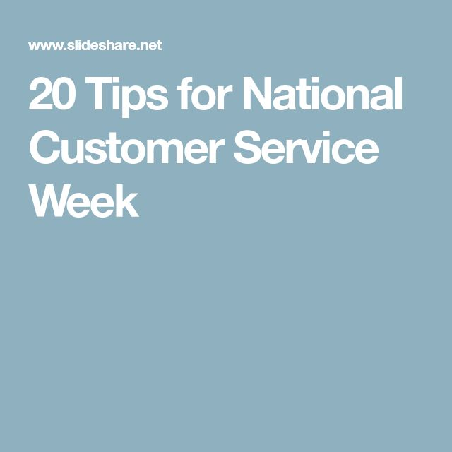 20 Tips for National Customer Service Week