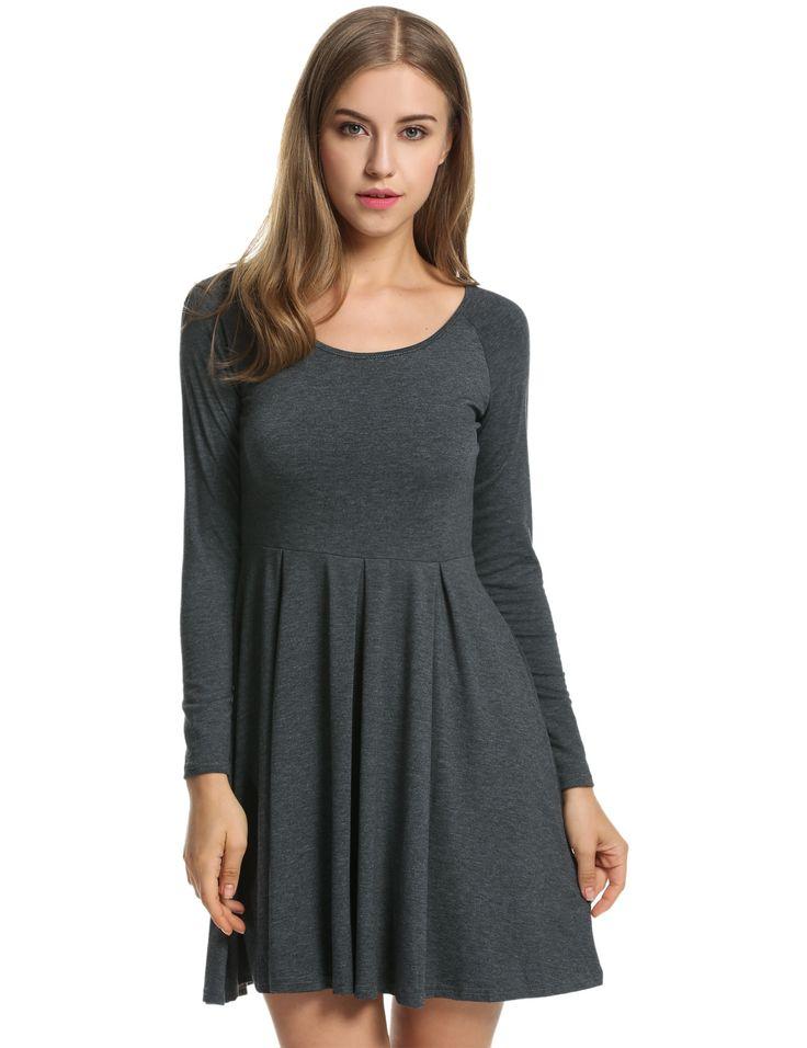 Dark gray Meaneor Women Long Sleeve High Waist Solid Stretch Pleated Casual Dresses dresslink.com