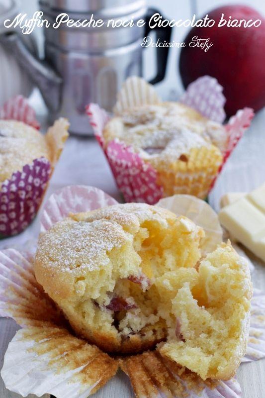 Muffin Pesche noci e Cioccolato bianco