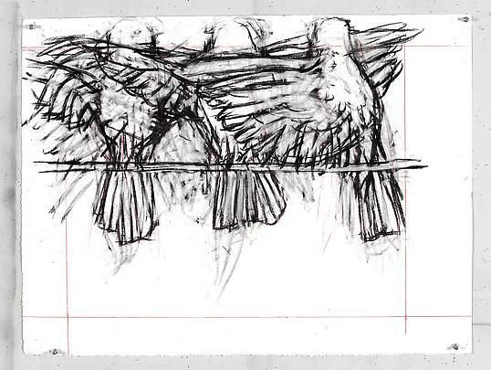 <b>Drawing from 'Preparing the Flute' (Three birds flapping)</b>, 2005 Image