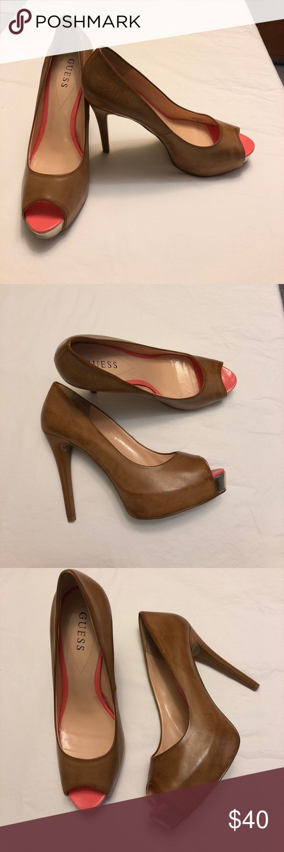 """Guess WG Patches Stiletto Heels Beautiful Guess WG Patches Open Toe Stiletto Heels. All man made material, but look like distressed leather. Only worn once, they are in excellent used condition. 5"""" heel with 1"""" platform. Smoke free home. No trades. Guess Shoes Platforms"""