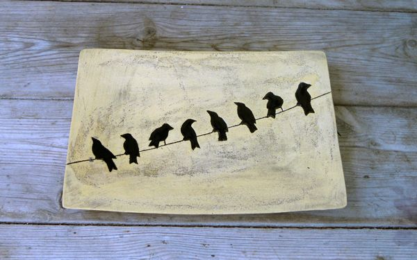 Platter rectangular birds on a wire