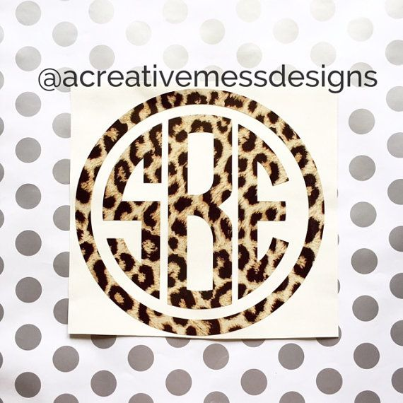Leopard Print Decal Monogram Decal Leopard By