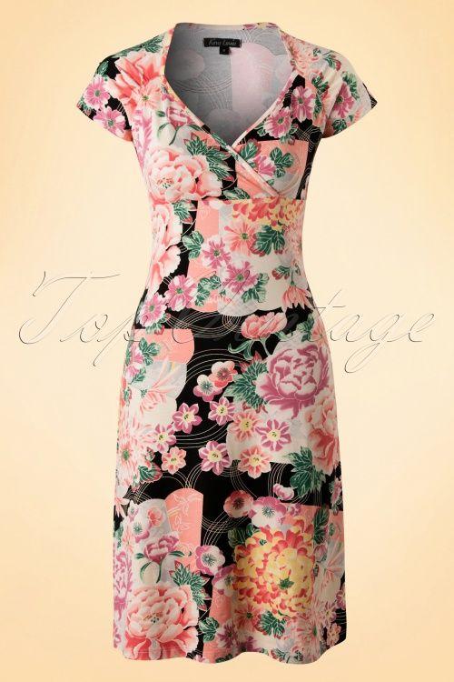 King Louie Floral Black Dress TopVintage Exclusive 102 14 17938 1W