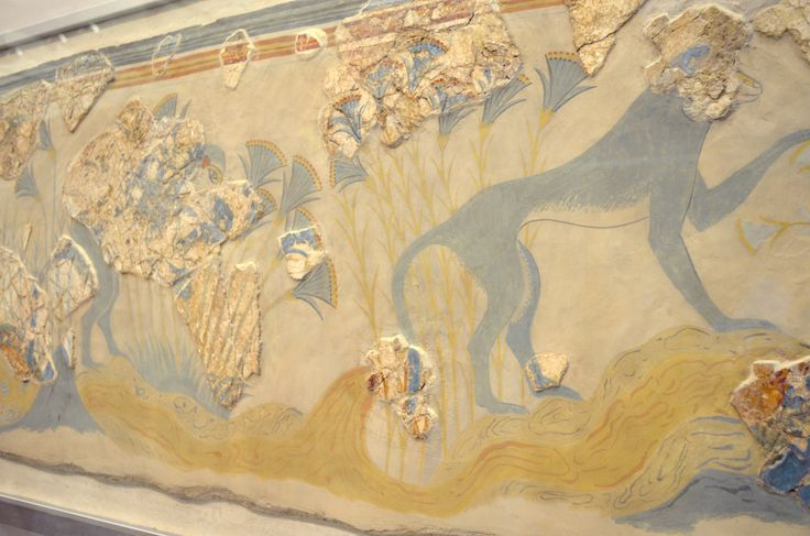 """Archaeological Museum of Heraklion: Panel with riverside landscape with monkeys and aquatic plants from a large landscape fresco that once decorated a spacious room of a house west of the palace of Knossos, named the """"House of the Frescoes"""" after the sequence of three surviving panels...."""