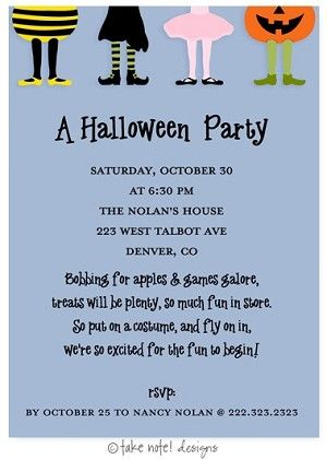 Costume Party Kids Halloween Party Invitations