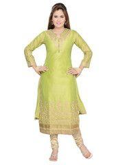 Parrot Green Color Art Silk Ready-made Salwar Suits ( Sizes - 36, 38, 40, 42, 44 ) : Shailja Collection  YF-42321