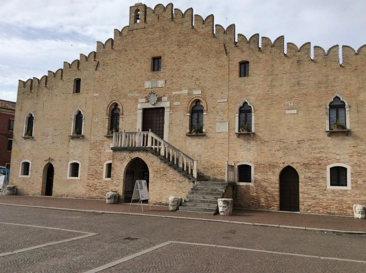 The unusual architecture of the town hall in Portogruaro, Italy