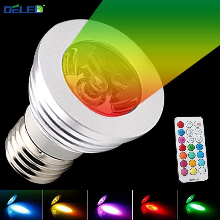 3 W RGB E27 Lumières Spotlight Pas de Scintillement AC tension 85-265 LED lampe et Contrôleur 16 Couleurs pour Éclairage de Scène Effet Utilisateur TT