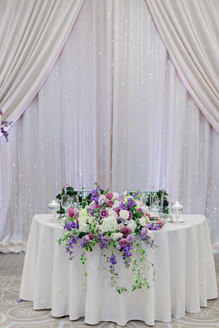 elegant florida wedding in shades of purple ballroom weddingsweetheart tablewedding