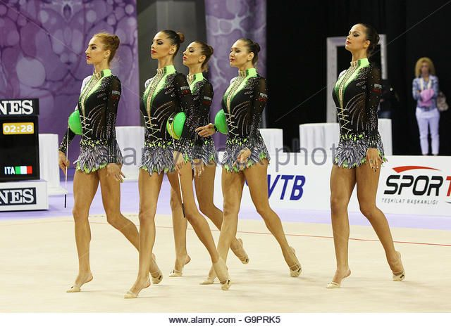 Tsvetelina Stoyanova from Bulgaria with the Bulgarian group during 33rd Rhythmic Gymnastics World Championships - Stock Image