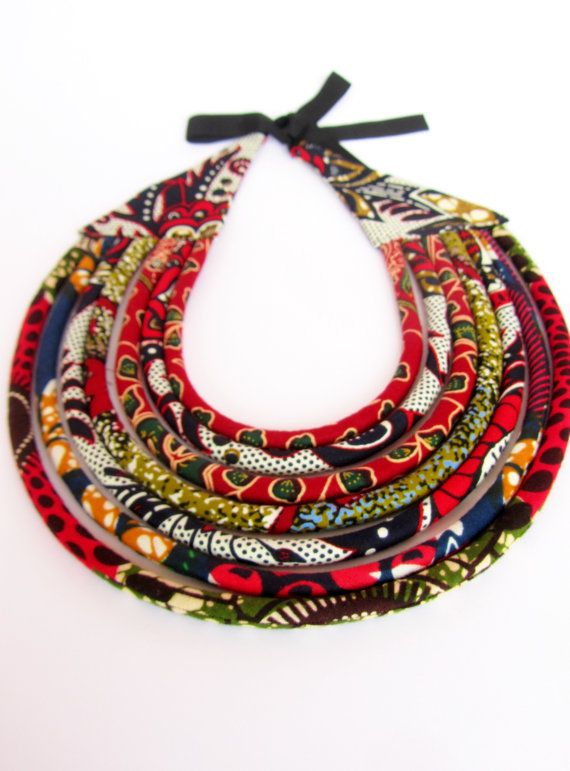 African Tribal Necklace Black Red Statement necklace / by nad205