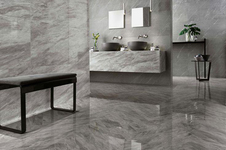 """marble-look ceramic tiles """"Marvel"""" in Bardiglio Grey (Atlas Concorde)"""