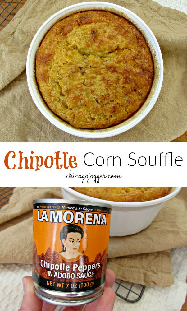 Chipotle Corn Souffle - a delicious, healthy side dish recipe for Thanksgiving with a spicy flavor kick. | Chicago Jogger #Ad #recipes #thanksgivingideas