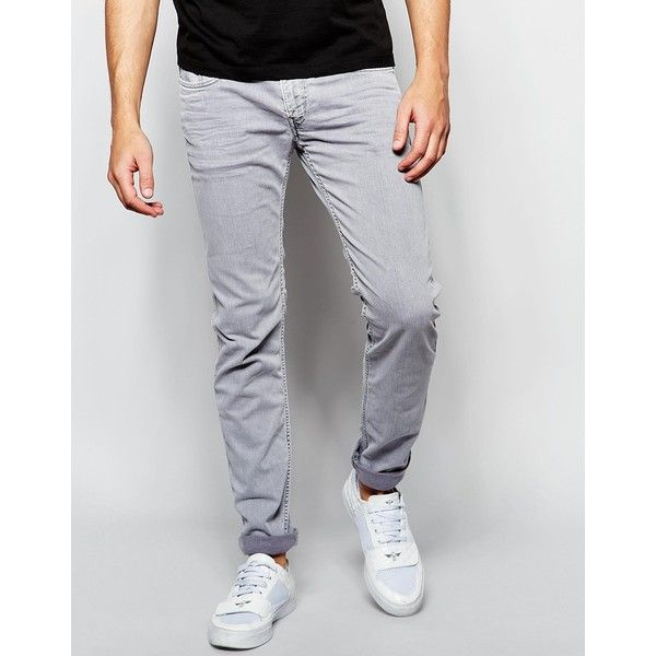 Replay Jeans Anbass Slim Fit Stretch Light Gray Overdye Wash (14.010 RUB) ❤ liked on Polyvore featuring men's fashion, men's clothing, men's jeans, light gray, mens slim cut jeans, replay mens jeans, tall mens jeans, mens slim fit jeans e mens slim jeans