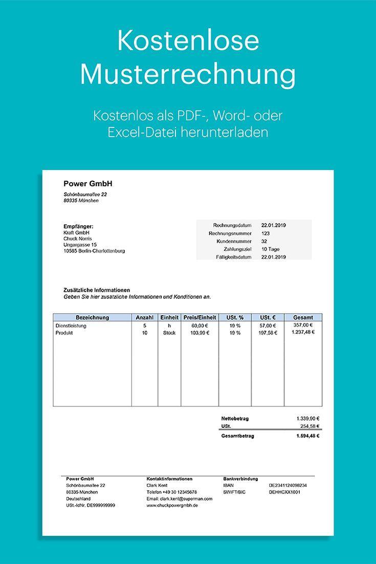 Musterrechnung Fur Word Und Excel Kostenlos Herunterladen Perfekt Fur Unternehmer Mit Umfangreicher Anleitung In 2020 Rechnung Vorlage Rechnungsvorlage Excel Vorlage