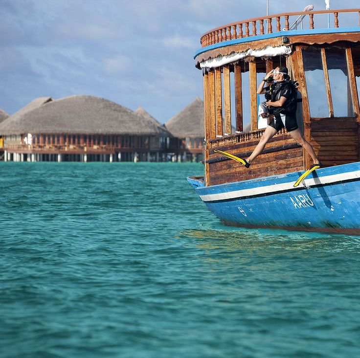 Taking the plunge at Constance Halaveli, Maldives.