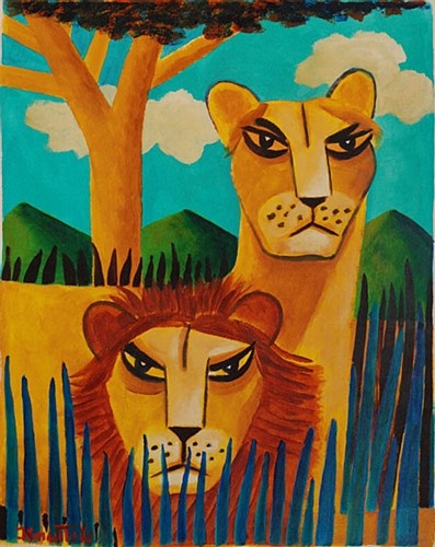 "Graham Knuttel ""Lion King"" #lions #colorful #art #painting  #irishart #GrahamKnuttel #DukeStreetGallery"