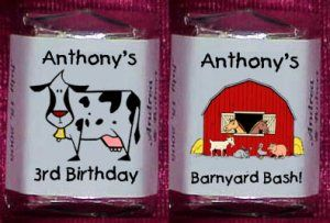 barnyard theme labels | 150 Birthday FARM ANIMALS THEMED Candy Labels Wrappers Favors