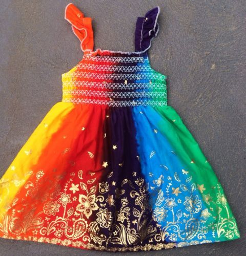 Rainbow Butterfly Dress-Hand-Dyed. Will stay Vibrant! FREE POSTAGE Australia