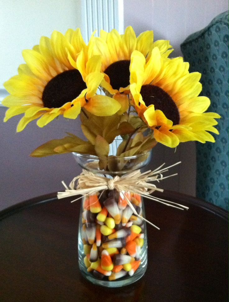 Candy Corn as filler in Fall Vase