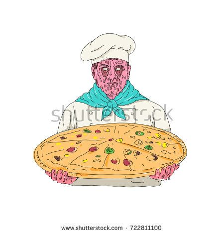 Grime art style illustration of a Zombie Chef cook or baker wearing toque hat Holding Pizza Pie viewed from front on isolated background.  #pizza #grimeart #illustration