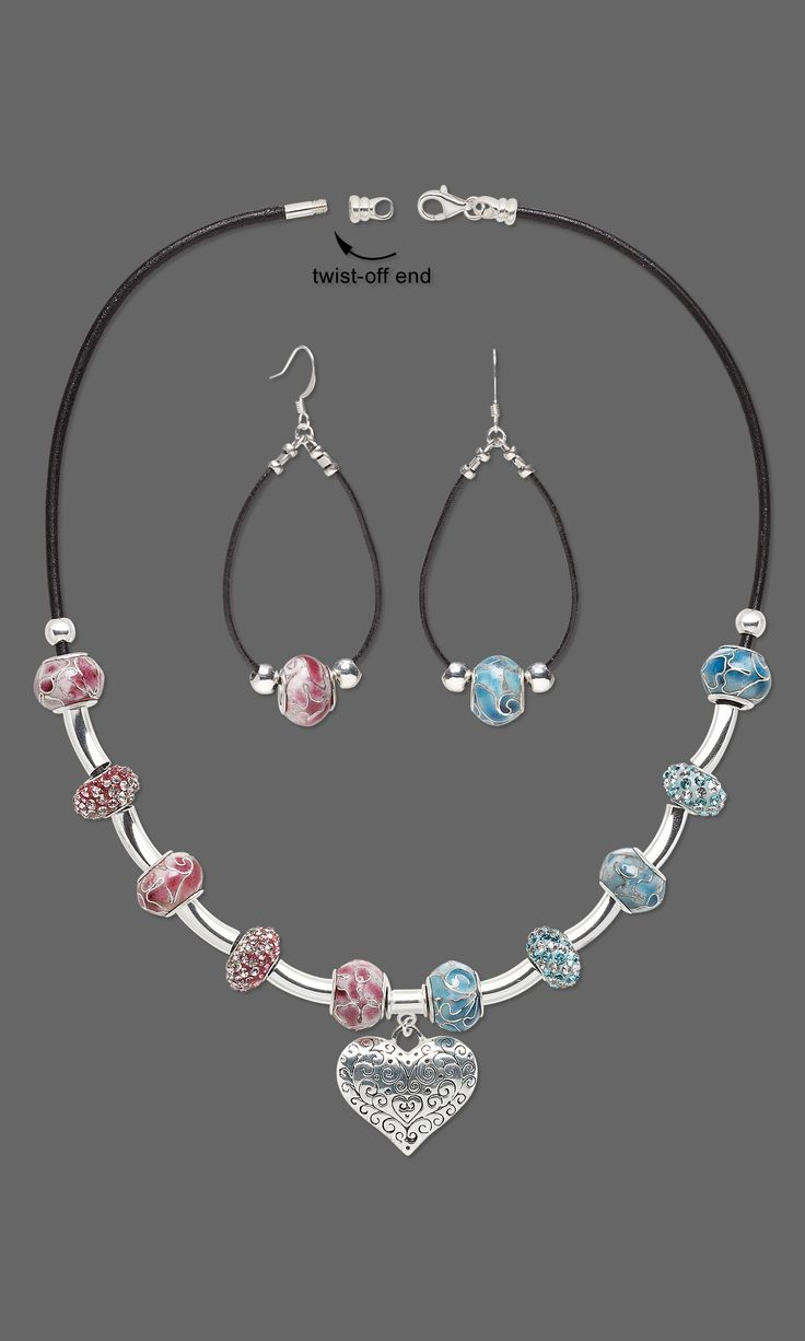 """Jewelry Design - Single-Strand Necklace and Earring Set with Dione® Large-Hole Beads, Silver-Plated Brass Beads and Antiqued Silver-Plated """"Pewter"""" Charm - Fire Mountain Gems and Beads"""