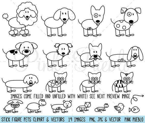 Strichmännchen Haustiere Clipart ClipArt Vektoren, Stick Familie Tiere Clip Art Clipart Vektoren – kommerziellen und persönlichen Gebrauch – Beruf